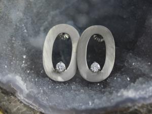 Brushed 14k White Gold Diamond Earrings - Drop Earrings - Oval Earrings - Ready to Ship