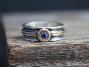 Sterling Silver & 14k Yellow Gold Sapphire Ring, Engagement Ring, 6mm Wide Band, Flush Set Gemstone, ConflictFree EcoFriendly, Made to Order