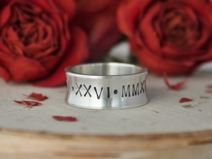 Roman Numerals Ring, Sterling Silver Concave Band, Engrave, Special Date, Anniversary, 8mm Wide, Custom Ring