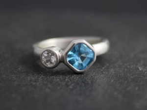 Bezel set ring Blue White Topaz Two Stone Ring, Asymmetrical Ring, Sterling Silver, Asscher Topaz, Statement Ring, Ready to Ship Size 5.75