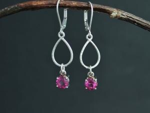 Pink Topaz Dangle Earrings in Sterling Silver, Tear Drop Dangles, Dangle Pink Gemstone Earrings, Ready to Ship Earrings