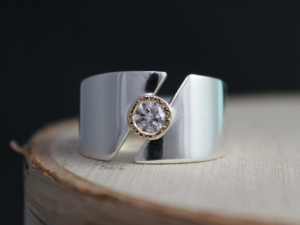 Sterling Silver and 14k Yellow Gold Diamond Ring, Split Band, Textured Bezel, Bezel Set Diamond, Two Tone Ring, Mixed Metals, Made to Order