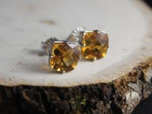 Citrine 14k White Gold Stud Earrings, 8mm Cushion Cut Citrine Earrings, November Birthstone Earrings, Ready to Ship