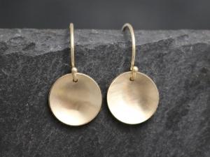 14k Yellow Gold Disc Earrings, 10mm, Fish hooks, Dangle Earrings, Minimalist, Dangle Circles, Concave