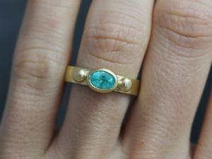 18k Yellow Gold Paraiba Tourmaline Ring, Gold Ball Details, Custom Ring, Customizable, Oval Gemstone, One of a Kind, Made to Order