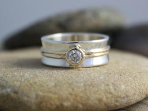 Sterling silver 14k yellow gold diamond ring 8mm wide .25 carat diamond