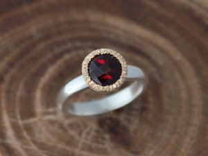 7mm Garnet Halo Ring, Sterling Silver and 14k Gold Halo Ring, Mixed Metals, Low Profile, Checkerboard Garnet, Ready to Ship Size 6.5
