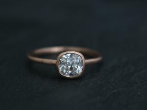 Old Mine cut cushion Moissanite 14k Rose Gold 6mm  Bezel Set  Diamond Alternative Engagement Ring, Made to order in 3-5 days