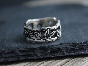 Silver Flower and Leaf Ring, Twig Ring, Stacking Ring, Organic Natural,  Oxidized Ring, Unique Band, Ready to ship Size 5