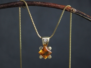 Princess Cut Citrine Pendant, 14k Yellow Gold and Citrine Pendant, Diamond Accent, Teddy Bear Pendant,