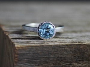 Sky Blue Topaz Ring, Textured Bezel Halo Ring, 7mm Round Gemstone, Blue Topaz Engagement Ring, Ready to Ship Size 7