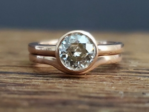 Moissanite peek a boo solitaire engagement ring solitaire 6mm old european cut round alternative engagement ring 14k rose gold, open bezel