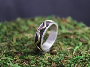 Sterling Silver 14k Yellow Gold Band Ring, 6mm Wide Band, Wave Ring, Mountain Band, Eco Friendly, Ready to Ship Size 8.25