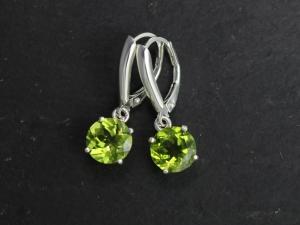 Peridot Dangle Earrings in Sterling Silver, Leverback, Big Peridot Earrings, Prong, August Birthstone, Ready to Ship