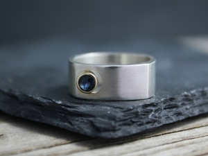 Sun and Moon Ring Sapphire - Sterling Silver 14k Yellow Gold Sapphire Ring - Square Band Ring -Made to Order