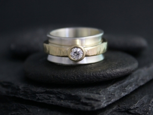 Sterling Silver and 14k Yellow Gold Diamond Ring, Mixed Metals Diamond Ring, Solid Gold and silver Ring, Ready to Ship 5.5-6