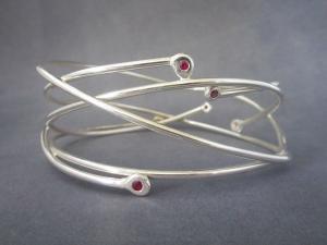 Ruby bangle bracelet six stone bracelet Sterling silver Bangle one-of-a-kind Made to order