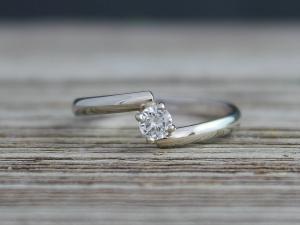 Embrace 14k White Gold Diamond Engagement Ring, Wedding Ring Set, Minimalist Engagement Ring