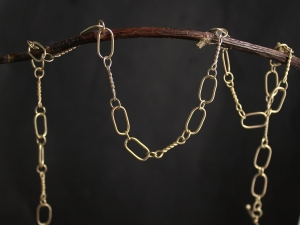 Handmade Gold Chain, Solid 14k Yellow Gold Chain Link Necklace, One of a Kind, Recycled Gold, Anniversary Gift, Made to order