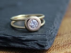 Diamond Pebble Ring, Split Shank Ring, 14k Yellow Gold Diamond Ring, Alternative Engagement Ring, Halo Ring, Ready to Ship Gold Ring