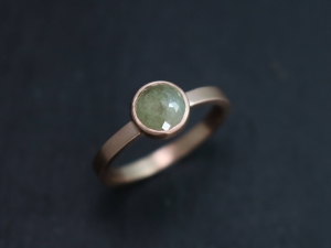 Rose Cut Light Grey Diamond Ring, Rose Cut Diamond Engagement Ring, 14k Rose Gold, Nontraditional Ring, Bezel Set, Ready to Ship Size 6