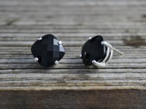 Big Black Onyx Gemstone Stud Earrings, Sterling Silver Earrings, 14k Gold Posts, Black Gemstone, Big Gemstone Studs, Made to Order