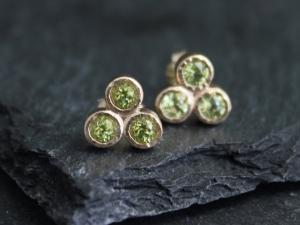 Peridot Trio Stud Earrings, Three Stone Studs, 14k Yellow Gold Earrings,  August Birthstone Earrings, Ready to Ship