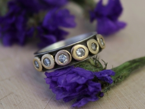 Sterling Silver 14k Yellow Gold 6 Stone Diamond Pebble Ring, 6mm Wide Band, Mixed Metals, Diamond Pebble Band, Oxidized Silver