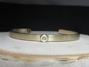 Solid 14k Yellow Gold Diamond Cuff Bracelet, Handmade Bracelet, Modern Cuff, One of a Kind, Made to order