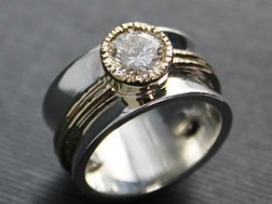 Sterling silver  14k yellow gold 6mm moissanite  10mm wide ring//wedding//engagment//