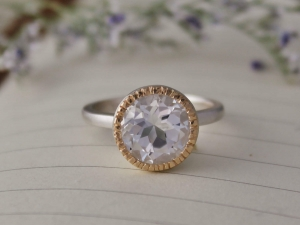 10mm White Topaz Halo Ring, Sterling Silver and 14k Yellow Gold Halo Ring, Textured Halo, Mixed Metals, Low Profile, Ready to Ship Size 6.75