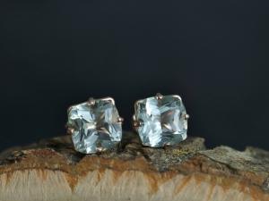 8mm Prasiolite 14k Rose Gold Stud Earrings, 8mm Cushion Cut, Green Amethyst, Soft Green Gemstone, Big Gemstone Studs,
