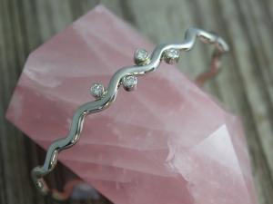 14k White Gold Diamond Bracelet, Handmade Gold Cuff, Diamond Wave Bracelet, Organic Design, One of a Kind, Ready to Ship Bracelet