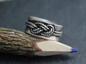 Infinity Love Knot Ring - 10mm Sterling Silver Band - Textured Rope Ring - 10mm Concave Band - Ready to Ship Size 9.5