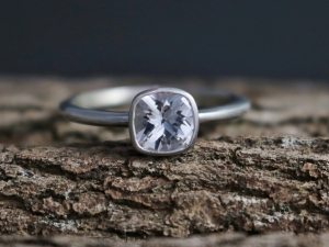 Ships today in your size 6mm White Topaz in 14k White Gold, Cushion Cut , Diamond Alternative Engagement Ring, Ready to Ship Size 6.75