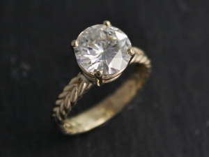ships today in your size 10mm Forever Brilliant Moissanite in 14k Yellow Gold, Braided Band, Prong Setting, Forever Brilliant Moissanite,