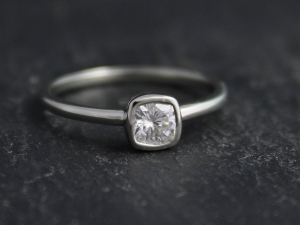4.5mm Moissanite in 14k White Gold, Forever One Moissanite, Diamond Alternative Engagement Ring, Recycled Gold, Ready to Ship Size 6.