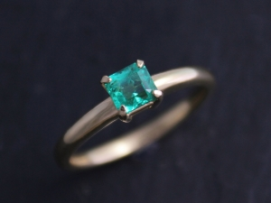Ships today in your size Asscher Cut Emerald Ring, 18k Yellow Gold, Alternative Engagement, Claw Prong,   Ready to Ship Gold Ring