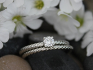 14k White Gold Diamond Engagement Ring, Stackable  Ring, Rope pattern band,  Bridal Set, Eco Friendly, Ready to Ship Gold Ring