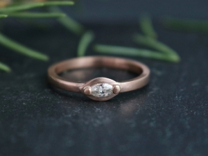 Ships Today in your size 14k Rose Gold Marquise Diamond  Ring, Stackable Ring, Modern, Minimalist, Sideways Marquise, Ready to Ship Size 7