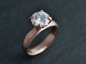 Ships today in your size 8mm Moissanite in 14k Rose Gold, Romance Ring,  Prong Ring,  Forever Brilliant Moissanite, Ready to Ship 6.25