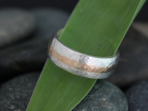 7mm Hammered Yellow Gold and Silver Ring, Gold Inlay Men's Ring, Sterling Silver 14k Rose Gold, Wedding Band, Made to Order