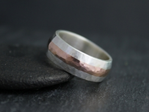 7mm Hammered Rose Gold and Silver Ring, 7mm Wedding Ring, Gold Inlay Men's Ring, Mixed Metal Ring, Eco Friendly Wedding Band, Made to Order