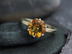 14k Yellow Gold Hexagon Golden Citrine Ring, Hammered Band, Alternative Engagement Ring, One of a Kind, Ready to Ship Gold Ring