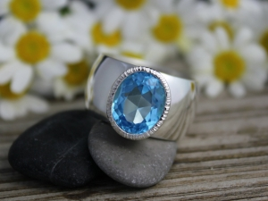 Sterling Silver Oval Blue Topaz Ring - Textured Halo Ring - Blue Topaz Ring - Oval Ring - Eco Friendly - Made to Order