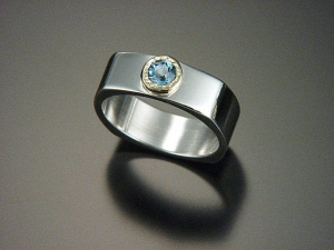 square ring  sterling silver 18kt gold blue topaz ring stackable band