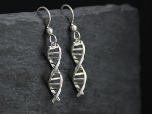 DNA earrings silver frenchbacks gift for science dangle earrings