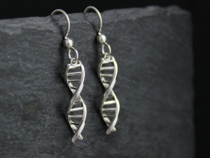 DNA earrings silver frenchbacks gift for science dangle earrings