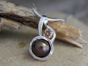 Akoya Pearl and Chocolate Diamond silver Pendant -Chocolate Pearl Champagne Diamond Pendant - Organic Pendant Made to order