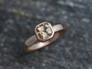 Asscher Cut Morganite in 14k Rose Gold, Bezel Set Morganite, Nontraditional Ring, One of a Kind, Peach Morganite 6mm, Made to order